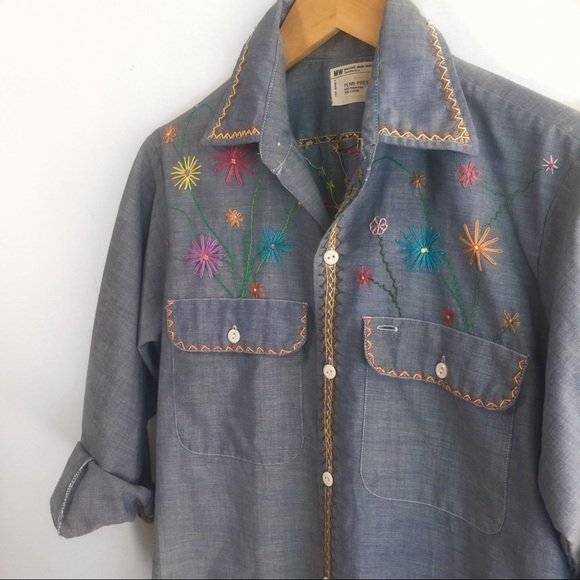 0977612c43a Vintage 70s Embroidered Chambray Shirt